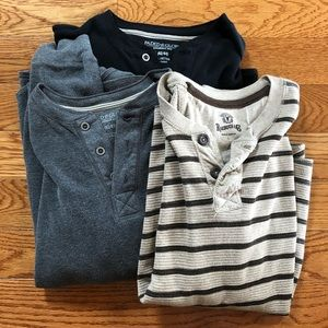 Set of 3 Long Sleeve Henley Shirts Thermal Large